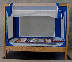 """The Courtney Bed, hand-crafted pediatric Special Needs beds for children who have a cognitive disability and need a safe place to sleep. The Courtney Bed is a great alternative to a standard hospital bed and is designed for children with Cerebral Palsy, Autism, Down Syndrome, Angelman's Syndrome and Developmental Disabilities.""  http://www.cyrdesigns.com/"