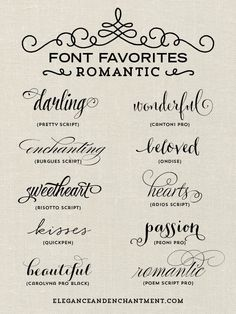A collection of romantic inspired fonts from Elegance and Enchantment. Perfect for tattoo lettering. Calligraphy Fonts, Typography Fonts, Calligraphy Tattoo Fonts, Tattoo Script, Tattoo Writing Fonts, Tattoo Quotes, Tattoo Fonts For Names, Tattoos Of Names, Different Fonts For Tattoos