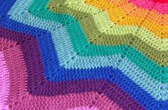Crocheted rainbow ripple star blanket in all its technicolour ...