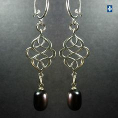 Nice-Genuine-Natural-Iridescent-Blalck-Baroque-Pearls-Plated-Silver-Earrings