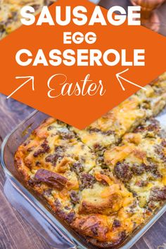 Sausage Breakfast Casserole Recipe - such an easy breakfast casserole! This sausage, egg and cheese casserole is cheesy, bubbly and fluffy all at the same time. And it'll make the perfect Christmas morning breakfast! Breakfast Casserole Easy, Breakfast Casserole Sausage, Savory Breakfast, Casserole Dishes, Casserole Recipes, Best Breakfast Recipes, Breakfast Ideas, 9x13 Baking Dish, Sausage And Egg