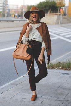 fall / winter - street style - street chic style - casual outfits - fall outfits - winter outfits - brown suede fringe jacket + brown fedora + brown loafers + brown ankle pants + brown handbag + cream chunky knit sweater