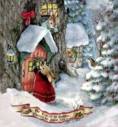 Holly Pond Hill by Susan Wheeler Christmas Scenes, Christmas Animals, Christmas Pictures, Christmas Art, Winter Christmas, Christmas Decorations, Christmas Ornaments, Susan Wheeler, Beatrix Potter