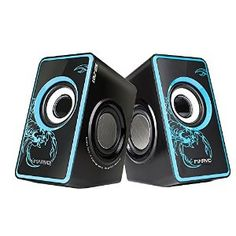 - USB 2.0 powered speaker, wired speaker with 3.5mm plug - Total RMS Power: 7W (3.5 per speaker)with subwoofer - Volume control with On/Standby; - Frequency response: 120Hz - 20KHz | Signal-to-noise ratio: > 80dB