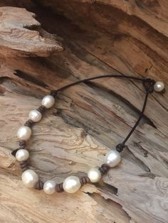 Pearls and Leather Necklace  Freshwater by ChristianOPearls