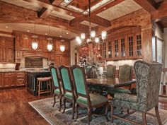 kitchen & dining with amazing woodwork