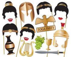 Here is the ultimate collection of Toga party photo booth props! Tons of Fun!! Great for a ancient rome theme party!  Contains 14 pieces:  ♥ 2 x Roman goddess hairstyles ♥ Ceasar hair ♥ harp ♥ grapes ♥ Roman torch ♥ ball and chain ♥ 20s hat ♥ cigarette holder ♥ Axe ♥ gold leaf crown ♥ 2 x Lips ♥ gladiator helmet ♥ sword ♥ wine goblet ♥ Roman necklace  * Recommend printing on cardboard or mount on cardboard   This listing inlcudes one (10) page PDF file with 14 photo prop.  This listing is…