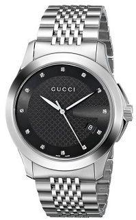 4903d23c752  MensStyle  Watches Gucci Men s YA126405 G-Timeless Medium Diamond Marker Black  Dial Watch