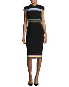 DIANE VON FURSTENBERG Hadlie Two Metallic Mini Dress, Black/Multi. #dianevonfurstenberg #cloth #