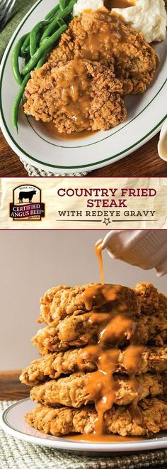 It's easy to make delicious Country Fried Steak with Redeye Gravy at home! Start with Certified Angus Beef®️️️️️ brand cubed steaks, MARINATED overnight in buttermilk, eggs, and light seasoning. Then, dredge in flour, the mixture, and then flour again, to ensure that they are completely coated and come out extra CRISPY when you pan fry them! #bestangusbeef #certifiedangusbeef #beefrecipe #comfortfood #steakrecipe