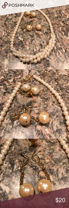 Vintage Pearl Set Necklace and earring set *comes with a free pair of earrings* Jewelry