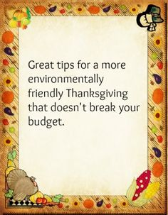 Tips for an Eco-Friendly, Budget-Friendly Thanksgiving