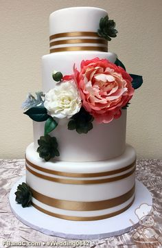 "Design W 0642 | Fondant Wedding Cake | 12""+10""+ 8""+ 6"" 
