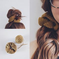 Yarn Projects, Knitting Projects, Knitting Accessories, Hair Accessories, How To Purl Knit, Knitting Patterns Free, Knitting Yarn, Hair Ties, Knitted Hats