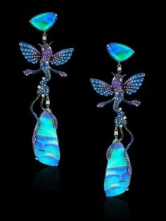 Lydia Courteille Opal and Sapphire Fish Earrings.
