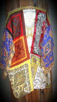 Vintage Scarf Patchwork Kimono Robe Coat Coverup Jacket Top Hippie Boho Paisley L XL Silk bell sleeves
