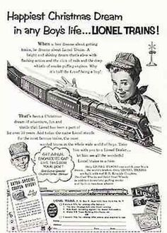 """paperink id: ads1025 Lionel Trains Boy in Engineer Cap Classic 1952 Toy Train AD ORIGINAL period magazine Ad, measures approximately 6.5"""" x 10"""", complete ad. Ad in Good condition with top right corner #modelrailway #lioneltrainlayouts #hobbytrains"""