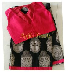 Buddha printed cotton saree with  trendy cut blouse