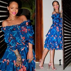 Rihanna Faith Connexion floral off shoulder ruffled dress, Gucci two-tone pink metallic sandals, Jacquie Aiche kite ring, petal stack ring, eternity band, 3x3 diamond cluster and gemstone ring