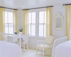 cottage bedroom with yellow curtains and white spool bedframes and spreads Beach House Bedroom, Home Bedroom, Bedroom Decor, Girls Bedroom, Cottage Bedrooms, Guest Bedrooms, Dream Bedroom, Cottage Homes, Cottage Style