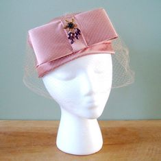 Pink Satin Hat, Vintage 1960s Pink Satin Pillbox Hat with Satin Bow, Veil and Amethyst Purple Rhinestone Brooch, Easter Hat