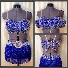Royal blue liquid sequins with beaded fringe and crystal/AB Swarovski rhinestones. University of Alabama Crimsonette Tryouts 2015