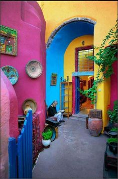 love the combination of colors pink, blue and yellow