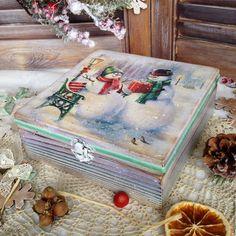 """Купить Шкатулка """"Подарок для снеговика"""" - голубой, шкатулка, шкатулка для рукоделия, для дома и интерьера, новогодний подарок"""