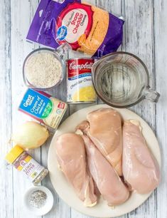 chicken breasts, cream of chicken soup, cheddar cheese soup, long grain rice, shredded cheese, onion, lemon pepper seasoning Cheddar Cheese Recipes, Campbells Soup Recipes, Cream Of Mushroom Chicken, Cream Of Chicken Soup, Mushroom Soup, Food Court, Chicken And Rice Crockpot, Chicken Recipes, Recipes