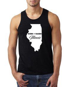 Born and Raised Illinois Tank Top #born #raised #bornandraised #home #illinois
