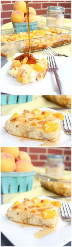 Peaches and Cream French Toast Casserole. Could be delicious with gluten free bread. What's For Breakfast, Breakfast Dishes, Breakfast Recipes, Morning Breakfast, Brunch Recipes, Sweet Recipes, Dessert Recipes, Desserts, Cupcake Recipes