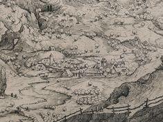 "BRUEGEL Pieter I (d'Après),1555 - Grand Paysage Alpestre, Estampe de Van Doetecum (Custodia) - Detail 14 - TAGS/ drawings dessins ""dessins 16e"" ""16th-century drawings"" ""dessin hollandais"" ""Dutch drawings"" ""peintres hollandais"" ""Dutch painters"" ""peintres hollandais"" Paris France ""Peter Brueghel l'Ancien"" landscape view panorama route road arbres tree trees maisons house colline hill mountain montagne animal animals animaux figures people valley vallée cheval horse cavalier rider Paris France, Vintage World Maps, Photo And Video, Artwork, Printmaking, Horse, Landscape, Drawing Drawing, Work Of Art"