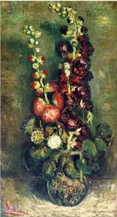 Vincent van Gogh Vase with Chinese Asters and Gladioli 1886 Vintage Canvas 12x16