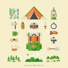 Ícones de acampamento Vetor grátis