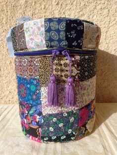 Box Round Multicolour patchwork handmade for storage and organisation by Aliki01 on Etsy