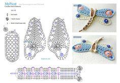 Crochet Mask, Form Crochet, Crochet Diagram, Crochet Chart, Crochet Squares, Crochet Motif, Crochet Butterfly Pattern, Crochet Flowers, Borboleta Crochet