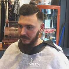 Pompadour with fade - Men Hairstyle - Barber Haircut Barber Haircuts, Haircuts For Men, Pompadour, Hair Cuts, Hairstyle, Mens Tops, Fashion, Man Haircuts, Haircuts