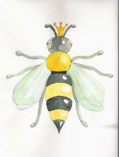 smart, active, prickly....queen bee!!  Painted by Gaia Dammacco - Water Colour