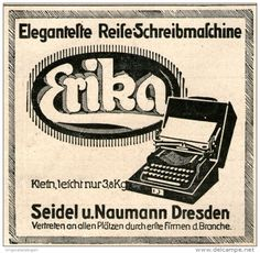 Original-Werbung/Anzeige 1914 - ERIKA SCHREIBMASCHINE / SEIDEL & NAUMANN DRESDEN - ca. 80 x 80 mm