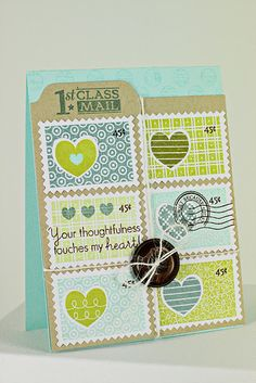 Heart-To-Heart Faux Postage Stamp Card by Erin Lincoln for Papertrey Ink (April 2012)