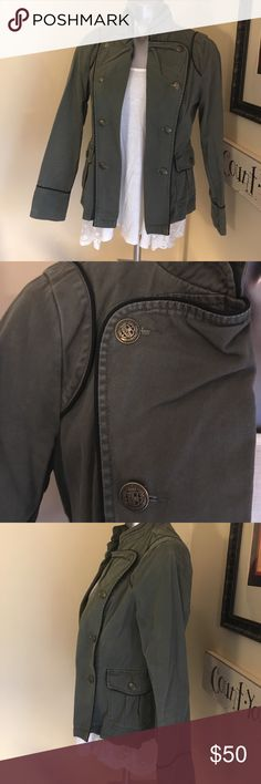 Army Nehru Jacket Nehru collar with beautiful brass button and black edging. This will be your new best friend! Looks adorable with jeans. Jackets & Coats Utility Jackets