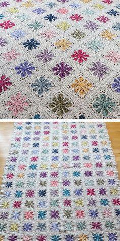 Field of Flowers Free Crochet Patterns Big Knit Blanket, Blanket Stitch, Baby Blanket Crochet, Crochet Blankets, Crochet Blocks, Afghan Crochet Patterns, Crochet Squares, Crochet Crafts, Crochet Projects