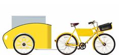 How cool is this bright yellow delivery van of a trailer?  With classic Dutch lines and workhorse dimensions, this bike trailer is a total w...