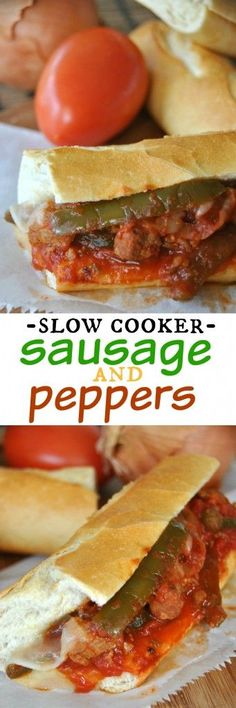 Slow Cooker Sausage and Peppers: delicious, hearty meal made in your crockpot dinner Crock Pot Food, Crockpot Dishes, Crock Pot Slow Cooker, Slow Cooker Recipes, Cooking Recipes, Crockpot Meals, Sausage Crockpot Recipes, Slow Cooking, Freezer Meals