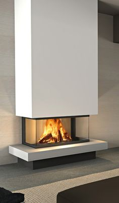 Range – Calore Sustainable Energy Source by alexandergroth - 3 Sided Fireplace, Fireplace Tv Wall, Modern Fireplace, Floating Fireplace, Living Room Decor Fireplace, Contemporary Fireplace Designs, Living Room Designs, Building A House, Family Room
