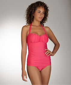 Hot pink one piece swim suit