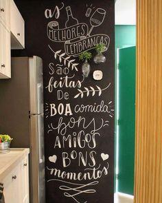 Chalkboard Art Kitchen, Kitchen Letters, Blackboard Wall, Chalkboard Lettering, Kitchen Art, Hand Lettering, Chalkboard Quotes, Ikea Spice Rack, Lettering Tutorial