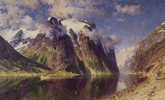 The Fjord by Adelsteen Normann. Handmade oil painting reproductions for sale, Always custom made on premium grade canvas by talented artists. Picasso, 1. Mai, Famous Artwork, Oil Painting Reproductions, Poster Prints, Art Prints, Norman Rockwell, Cool Landscapes, Artist At Work