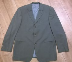 HUGO BOSS Men s WOOL Blazer Suit Jacket Size xL Grey VINTAGE