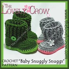 """Ravelry: Baby Boots Booties Slippers """"Baby Snuggly Snuggs"""" pattern by Elizabeth Alan"""